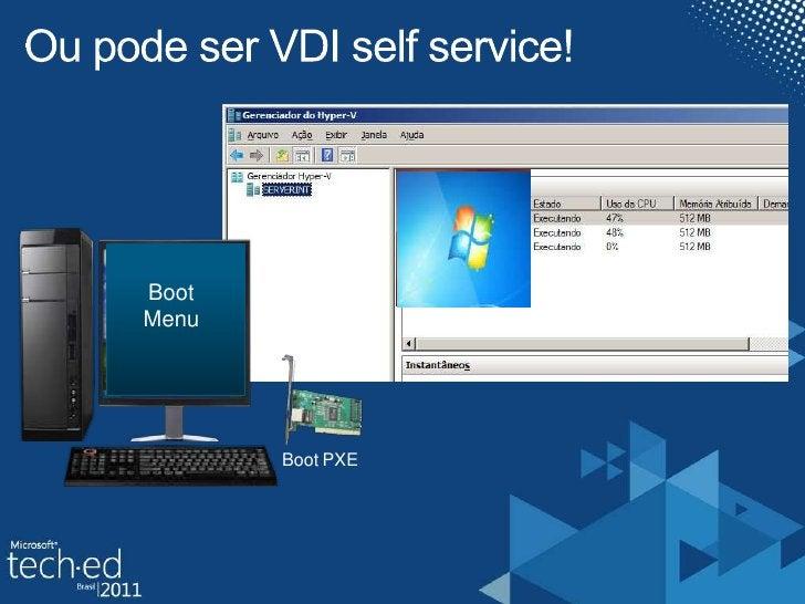 Ou pode ser VDI selfservice!<br />Boot Menu<br />BootPXE<br />