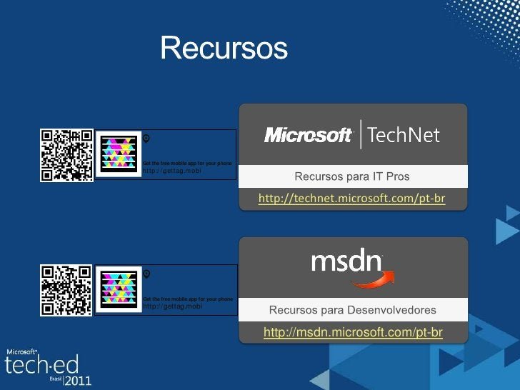 Recursos<br />Recursospara IT Pros<br />http://technet.microsoft.com/pt-br<br />RecursosparaDesenvolvedores<br />http://ms...