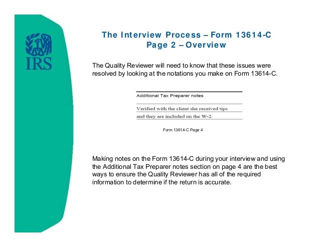 Intake/Interview and Quality Review Training - 2014 Filing Season