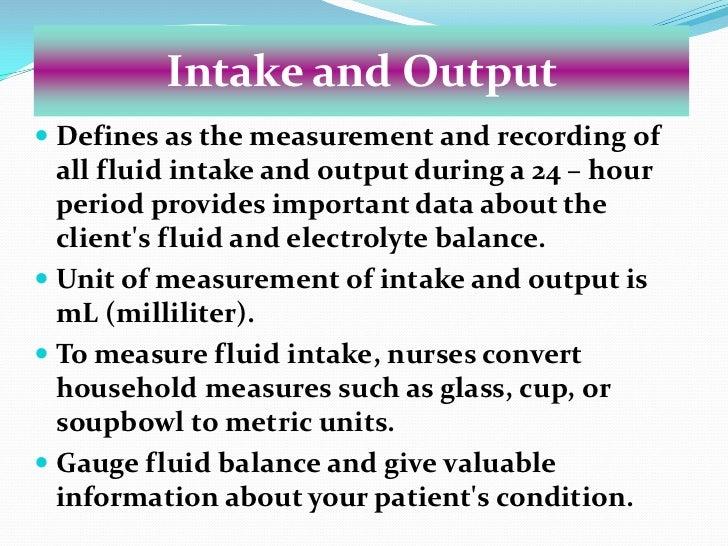 intake and output chart