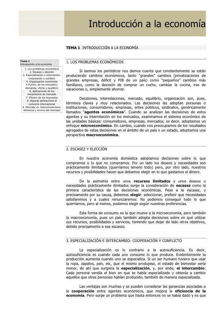 Introducción a la economía                                       TEMA 1 INTRODUCCIÓN A LA ECONOMÍA   Tema 1               ...