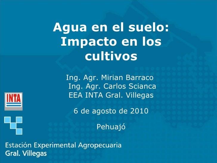Agua en el suelo: Impacto en los cultivos Ing. Agr. Mirian Barraco  Ing. Agr. Carlos Scianca EEA INTA Gral. Villegas 6 de ...