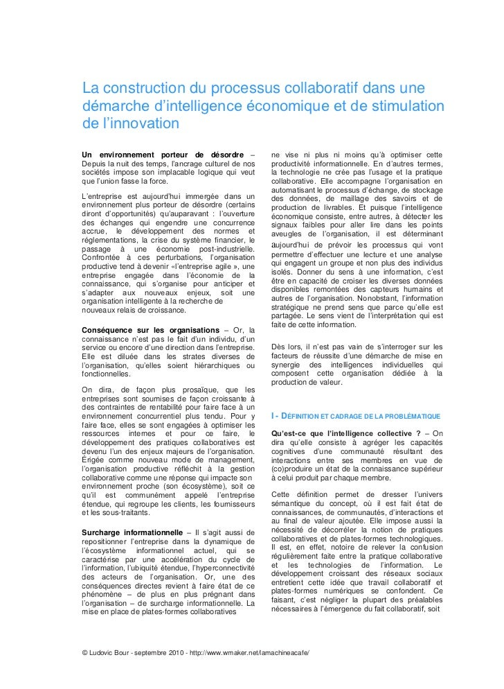 La construction du processus collaboratif dans unedémarche d'intelligence économique et de stimulationde l'innovationUn en...
