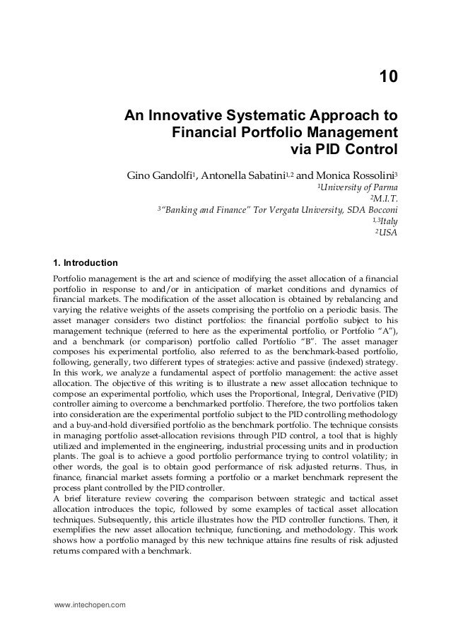 10 An Innovative Systematic Approach to Financial Portfolio Management via PID Control Gino Gandolfi1, Antonella Sabatini1...