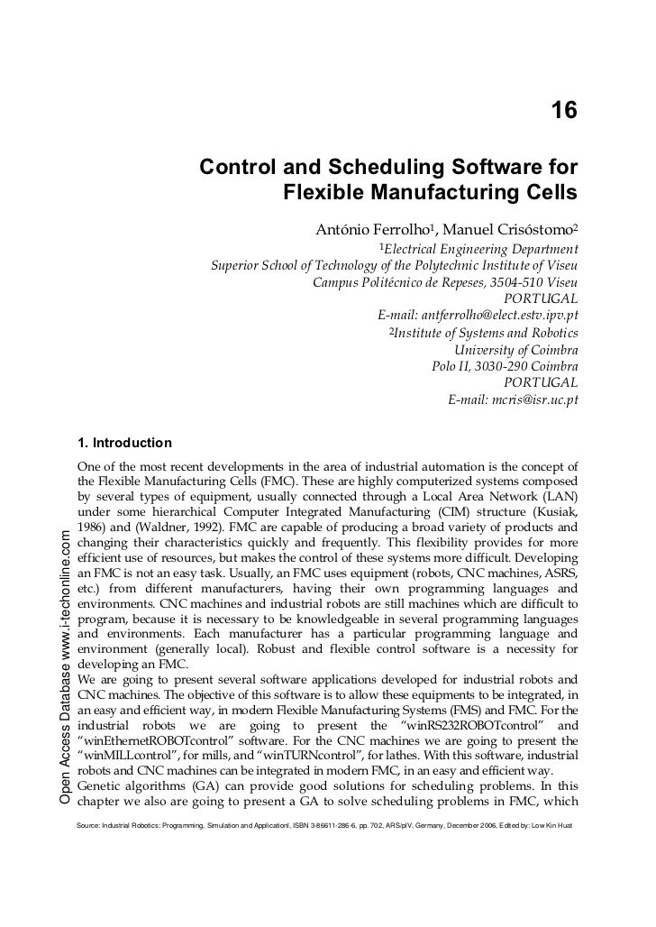 16                                                                                  Control and Scheduling Software for   ...
