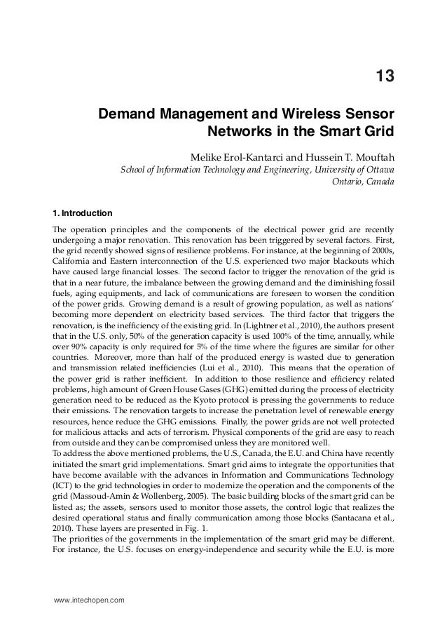 0 13 Demand Management and Wireless Sensor Networks in the Smart Grid Melike Erol-Kantarci and Hussein T. Mouftah School o...