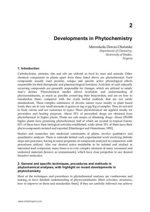 2 Developments in Phytochemistry Moronkola Dorcas Olufunke Department of Chemistry, University of Ibadan, Nigeria 1. Intro...
