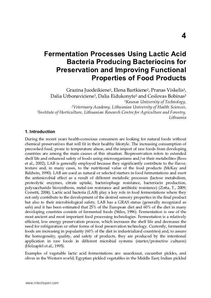 4           Fermentation Processes Using Lactic Acid                 Bacteria Producing Bacteriocins for              Pres...