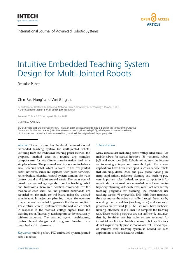 ARTICLEInternational Journal of Advanced Robotic SystemsIntuitive Embedded Teaching SystemDesign for Multi-Jointed RobotsR...