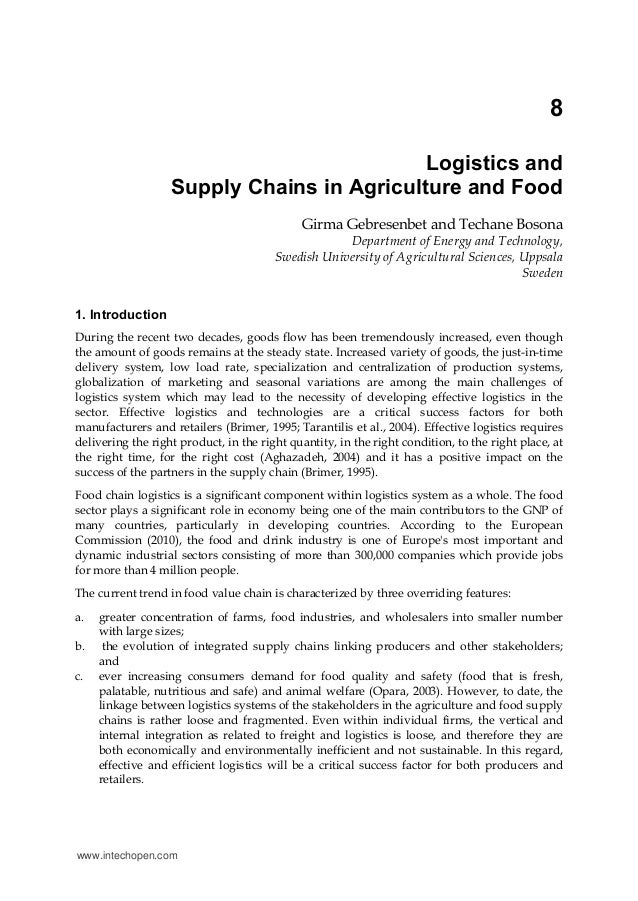 8                                            Logistics and                   Supply Chains in Agriculture and Food        ...