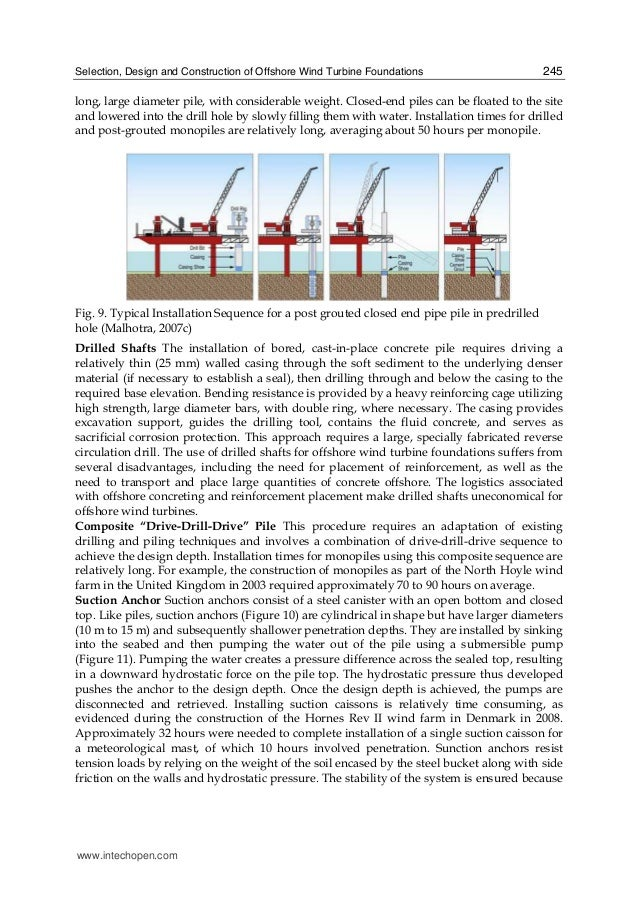 Selection, Design and Construction of Offshore Wind Turbine Foundations 245 long, large diameter pile, with considerable w...