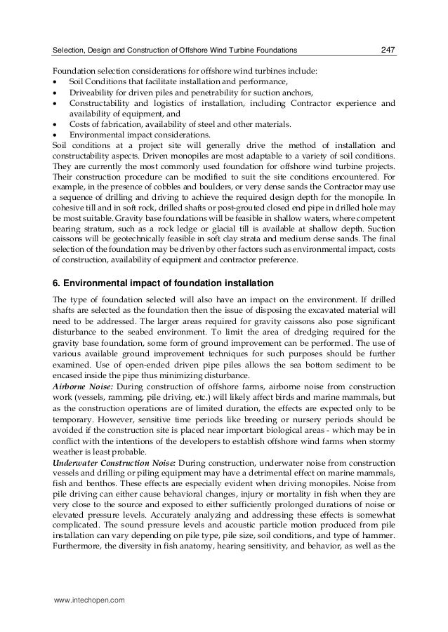 Selection, Design and Construction of Offshore Wind Turbine Foundations 247 Foundation selection considerations for offsho...