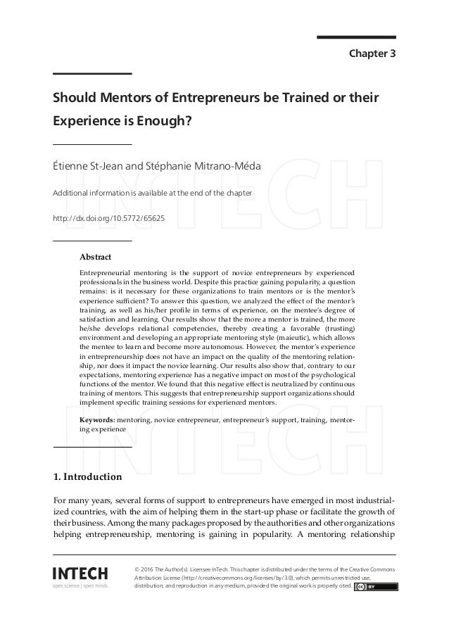 Chapter 3 Should Mentors of Entrepreneurs be Trained or their Experience is Enough? Étienne St-Jean and Stéphanie Mitrano-...