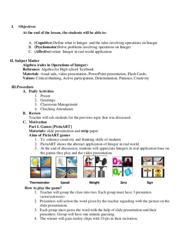 Math Lesson Plan Sample For Demo Teaching