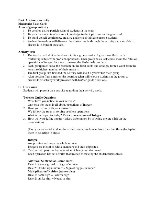 MATH Lesson Plan Sample For Demo Teaching - Lesson plan template example