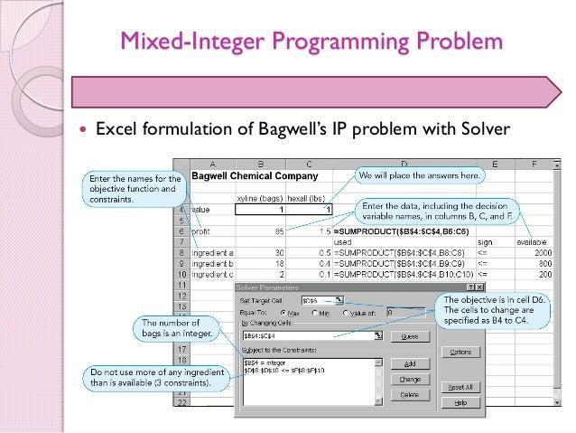 binary integer programming excel example