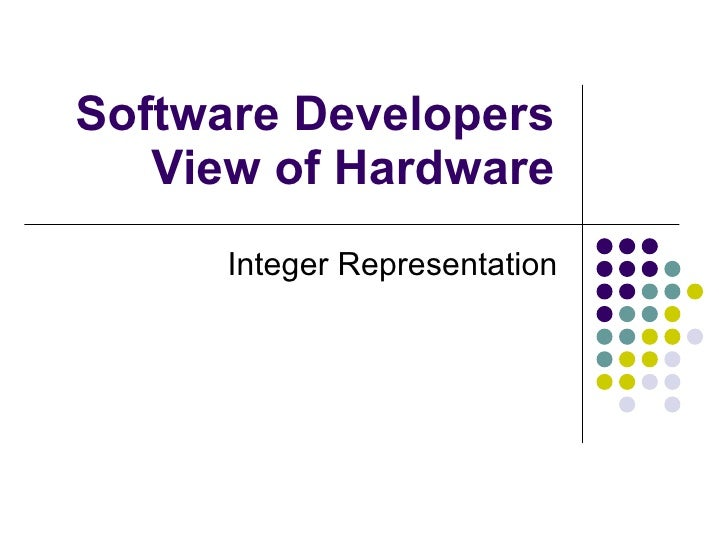 Software Developers View of Hardware Integer Representation