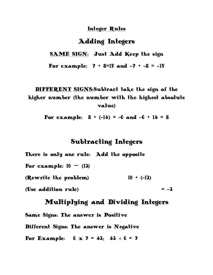 Integer Rules