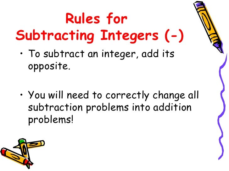 Worksheets Integers Rules integers rules for subtracting integers