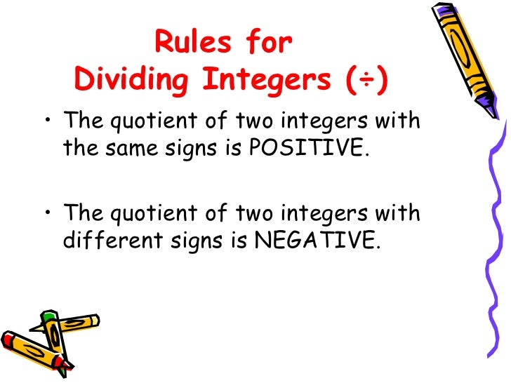 Worksheets Integers Rules integers rules for dividing integers