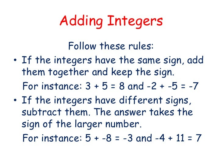 Worksheets Adding Integers Rules integers adding and subtracting adding