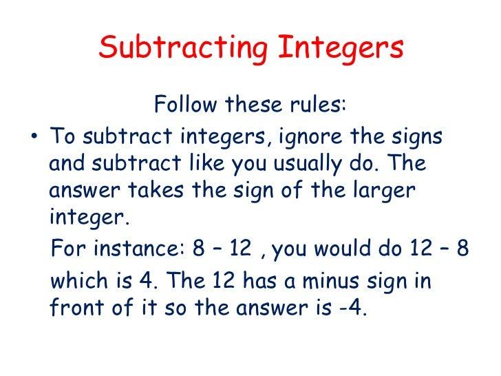 Worksheets Adding And Subtracting Integers Rules integers adding and subtracting integers