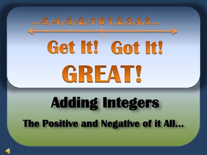 0<br />…-5,-4,-3,-2,-1<br />1,2,3,4,5...<br />Get It!<br />Got It!  <br />GREAT!<br />Adding Integers <br />The Positive a...
