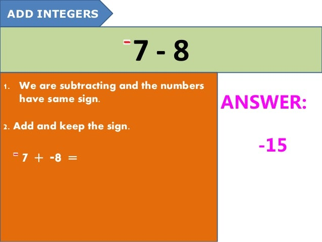 how to add and subtract intigers
