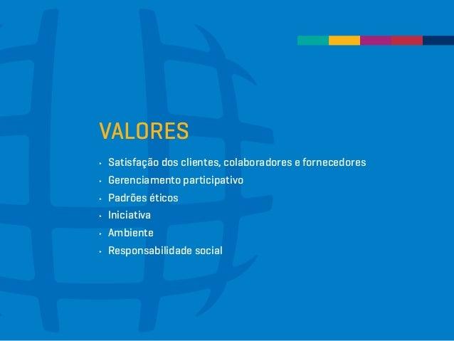 VALORES ∂∂ Satisfação dos clientes, colaboradores e fornecedores ∂∂ Gerenciamento participativo ∂∂ Padrões éticos ∂∂ Inici...