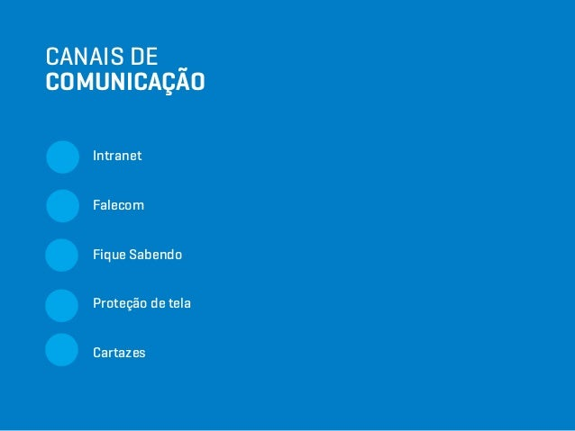 CANAIS DE COMUNICAÇÃO Intranet Falecom Fique Sabendo Proteção de tela Cartazes