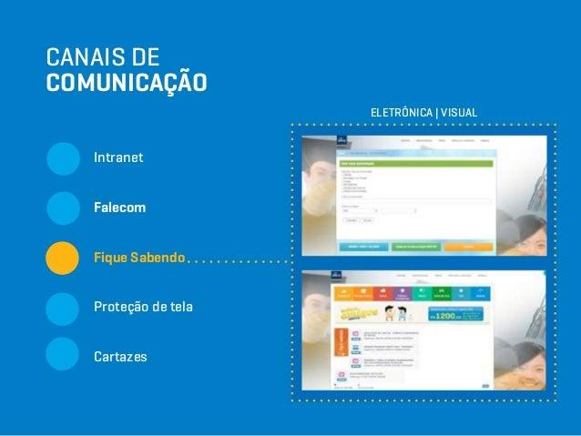 CANAIS DE COMUNICAÇÃO Intranet Falecom Fique Sabendo Proteção de tela Cartazes ELETRÔNICA   VISUAL