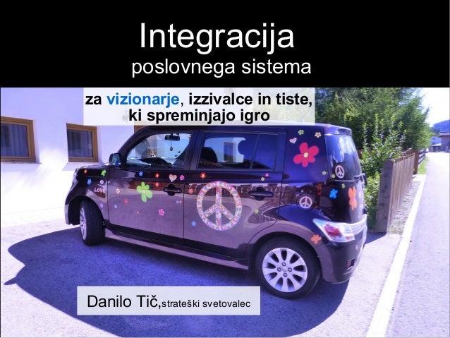 Integracija poslovnega sistema Danilo Tič,strateški svetovalec za vizionarje, izzivalce in tiste, ki spreminjajo igro