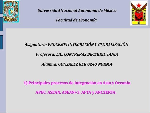 Universidad Nacional Autónoma de México Facultad de Economía Asignatura: PROCESOS INTEGRACIÓN Y GLOBALIZACIÓN Profesora: L...