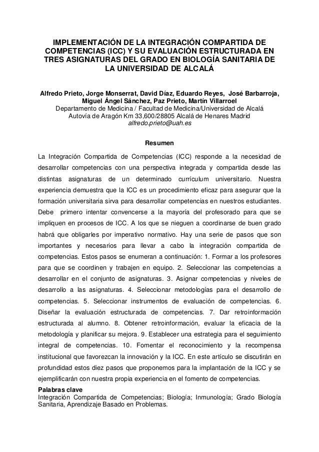 IMPLEMENTACIÓN DE LA INTEGRACIÓN COMPARTIDA DE COMPETENCIAS (ICC) Y SU EVALUACIÓN ESTRUCTURADA EN TRES ASIGNATURAS DEL GRA...