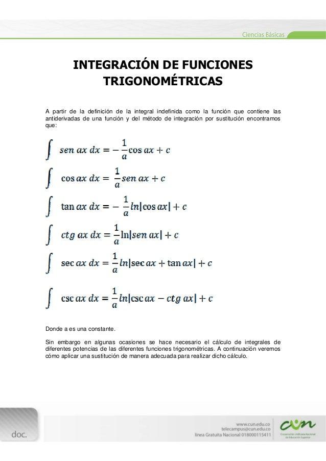 [Escribirtexto]  INTEGRACIÓN DE FUNCIONES TRIGONOMÉTRICAS A partir de la definición de la integral indefinida como la...