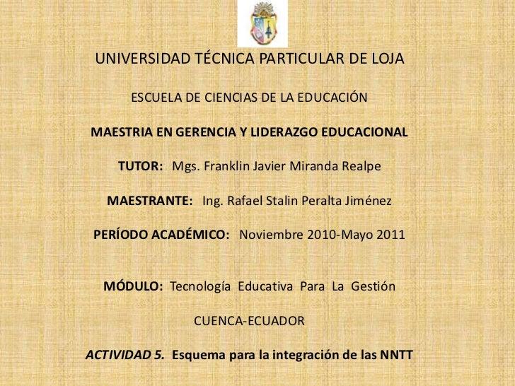 UNIVERSIDAD TÉCNICA PARTICULAR DE LOJA<br />ESCUELA DE CIENCIAS DE LA EDUCACIÓN<br />MAESTRIA EN GERENCIA Y LIDERAZGO EDUC...