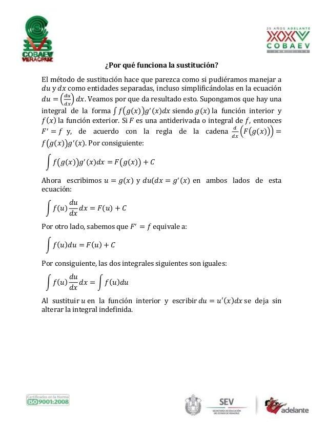 Integración por sustitución o cambio de variable Slide 3