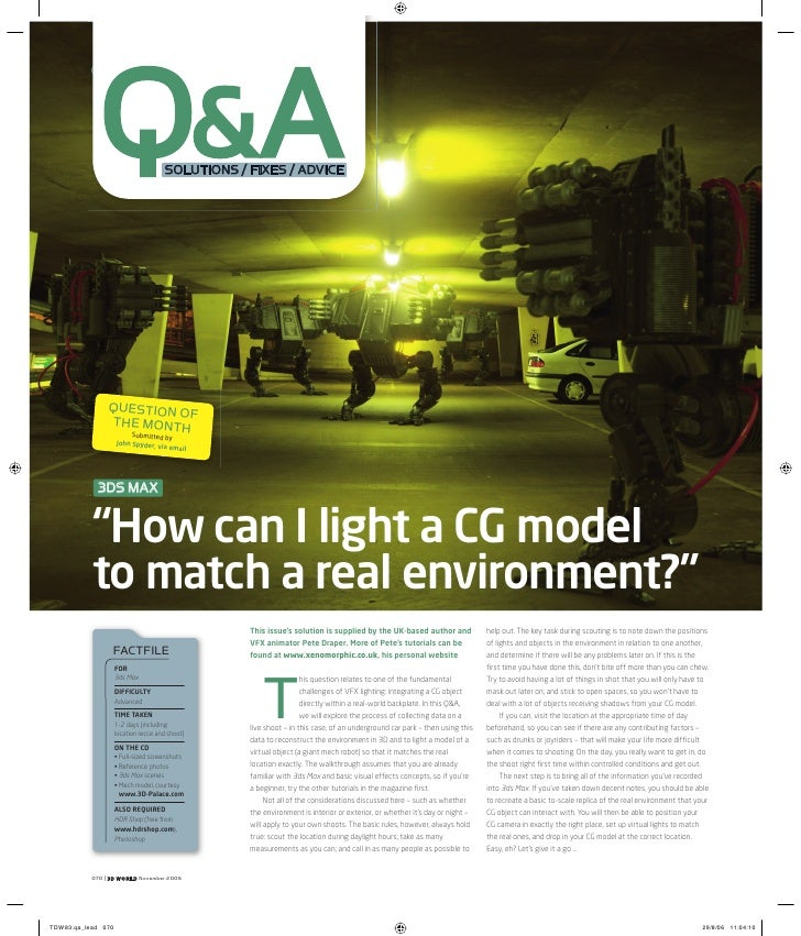 Q&A | Matching real-world lighting references                  Q&A                      SOLUTIONS / FIXES / ADVICE        ...
