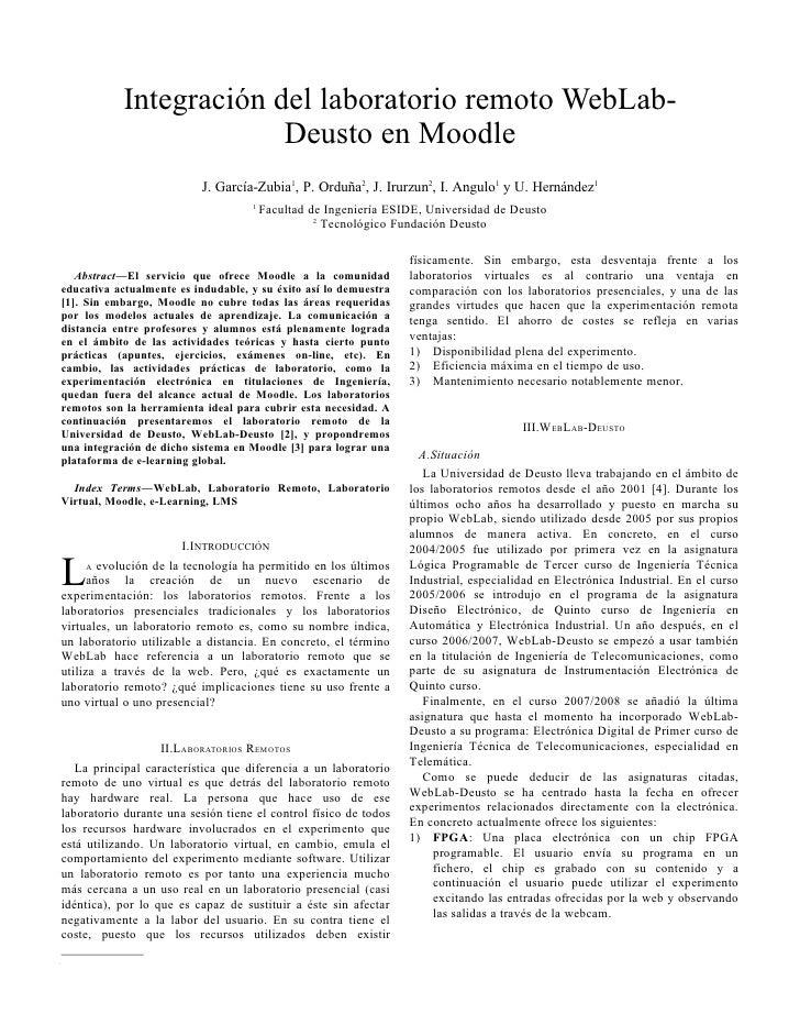 Integración del laboratorio remoto WebLab-                         Deusto en Moodle                           J. García-Zu...
