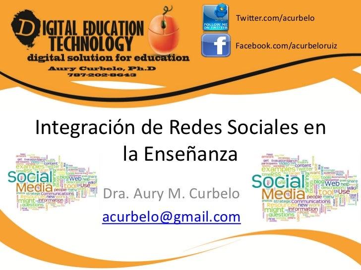 Twitter.com/acurbelo                          Facebook.com/acurbeloruizIntegración de Redes Sociales en          la Enseña...