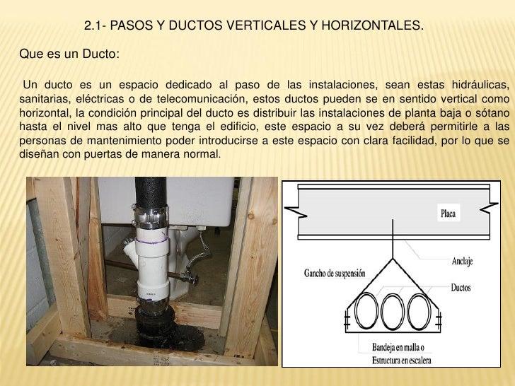 2.1- PASOS Y DUCTOS VERTICALES Y HORIZONTALES.Que es un Ducto: Un ducto es un espacio dedicado al paso de las instalacione...
