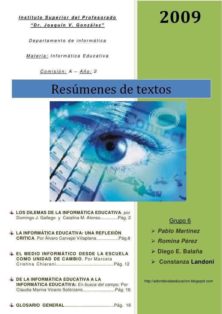"Instituto Superior del Profesorado          ""Dr. Joaquín V. González""                                                     ..."