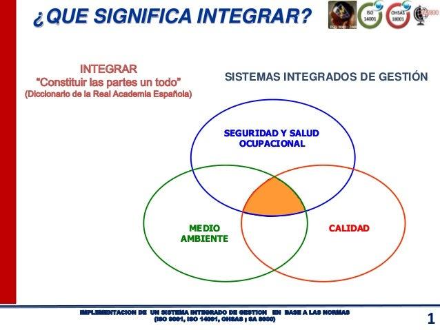 1 IMPLEMENTACION DE UN SISTEMA INTEGRADO DE GESTION EN BASE A LAS NORMAS (ISO 9001, ISO 14001, OHSAS ; SA 8000) SISTEMAS I...