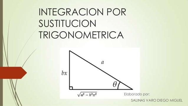 INTEGRACION PORSUSTITUCIONTRIGONOMETRICAElaborado por:SALINAS VARO DIEGO MIGUEL