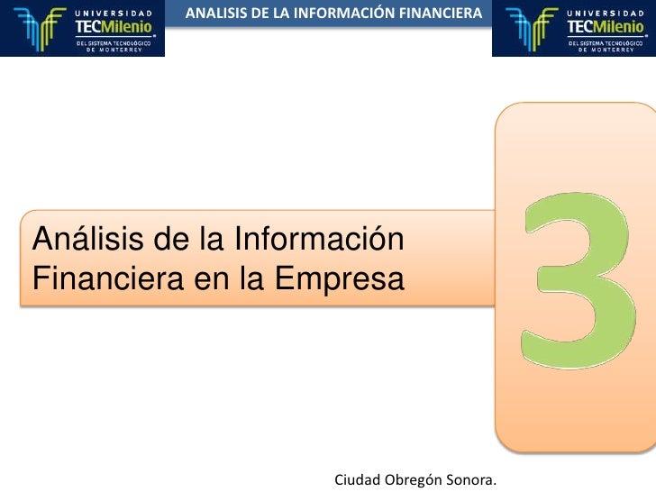 ANALISIS DE LA INFORMACIÓN FINANCIERA<br />3<br />Análisis de la Información<br />Financiera en la Empresa<br />Ciudad Obr...