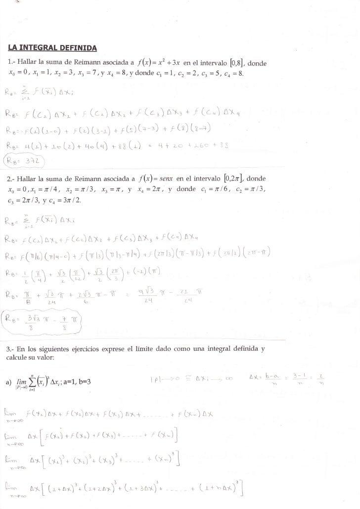 """IÁ INTEGRAT DEFINIDA   1.- Hallar la suma de Reimarur asociada u f("""")= x2 +3-r en el intervalo                            ..."""