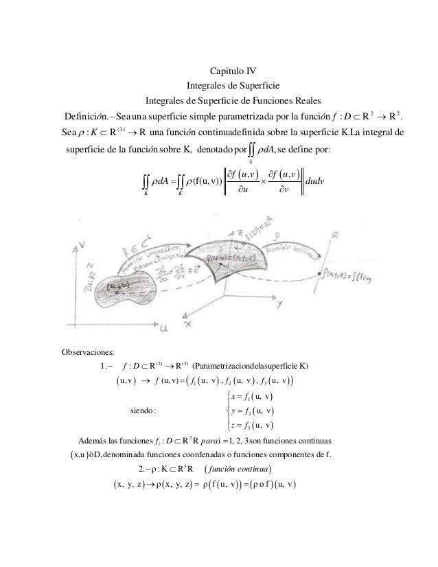 2 2 (3) Capitulo IV Integrales de Superficie Integrales de Superficie de Funciones Reales Definici n. Sea una superficie s...