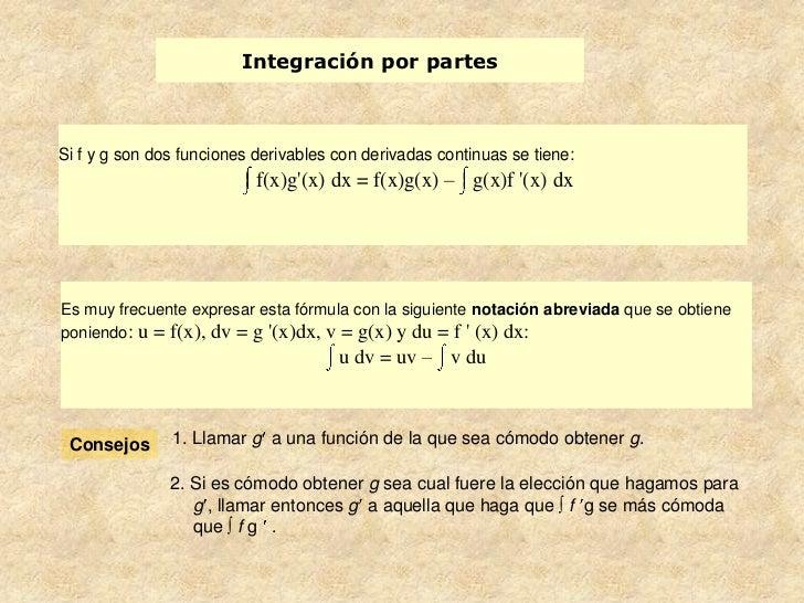 Integración por partesSi f y g son dos funciones derivables con derivadas continuas se tiene:                           f(...