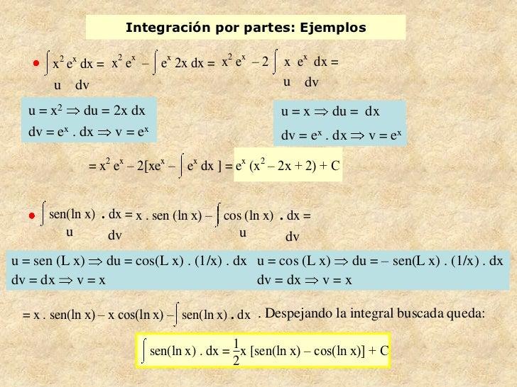 Integración por partes: Ejemplos                                   2 x       x2 ex dx = x e – e 2x dx = x e – 2           ...